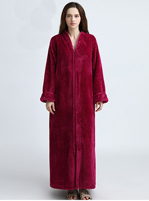 Womens Thick Jacquard Coral Fleece Long Dressing Gown Robe Zip Up